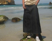Modest long denim gore skirt, with pockets. Style II. Custom made.