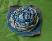 Fabric Rosette Headband, bright green and teal with tulle