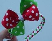 Christmas Polka Dot Woven Headband with Bow