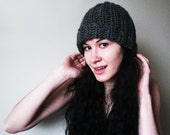 EXTRA ROOMY Classic Beanie - Charcoal Grey Beanie Womens Mens Unisex Ribbed