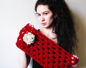 The Cluster Cowl - Crochet Cranberry Red Cowl Scarf Flower Oatmeal Chunky Bulky - CHOOSE YOUR COLOR