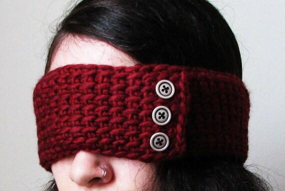 Earwarmer Deep Red Crochet Buttons Autumn Headband