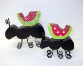 Pair of wood Ants with Watermelons Summer decor Picnic Red Green Black