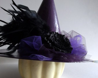 FREE SHIPPING!  Paper Mache Witch Hat with Feathers