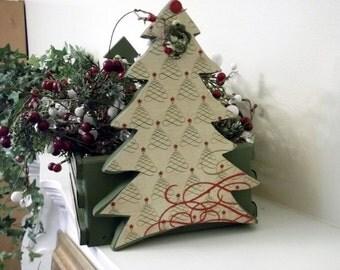 FREE SHIPPING! Wood basket with Christmas Trees Holiday Christmas Decor Christmas Gift Hostess Gift Home Decor