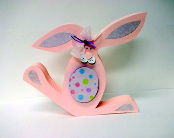 FREE SHIPPING!  Wood Easter Bunny pink Easter Decor Holiday Decor