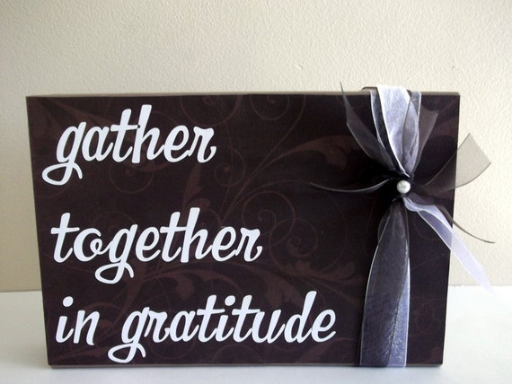 Wood Block Gather Together in Gratitude Thanksgiving Home Decor