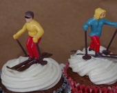 HiTTiNG the SLoPeS- Cupcake Toppers---Winter Snow Skiing Couple--2 sets--4ct total