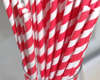 ROCKET RED & WHITE-stripes---Paper  Straws---50ct with Free Printable diy Flags