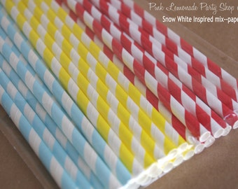 SNoW WHiTe InSpired MiX -Paper Straws 25ct--red, yellow and powder blue stripe with Free Printable Flags
