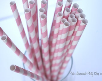 BUBBLEGUM PINK & WHITE  Striped--Paper Straws--50ct with Free Printable diy Flags