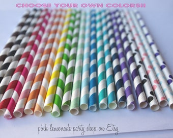 PAPER STRAWS--Pick your own COLORS --25ct with Free Printable diy Flags