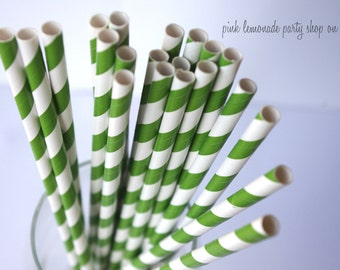 kelly gReeN & WHITE Stripes-Paper Straws-25 ct with Free Printable diy Flags