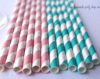 BUBBLEGUM PINK & Aqua Mix--Paper Straws--25ct with Free Printable diy Flags
