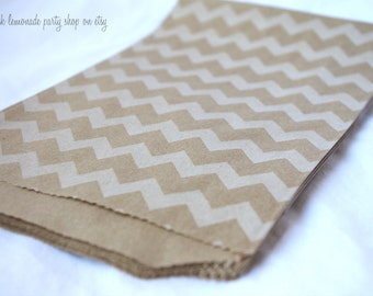 MeDiUM CHeVRoN PaTTerN PaPER BAGs-- brown kraft with white--party favors--gifts---weddings--showers--20ct