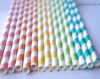 RaiNBoW Pack-PaSTeL CoLoRs-  Stripes--Paper Straws--100ct with Free Printable diy Flags