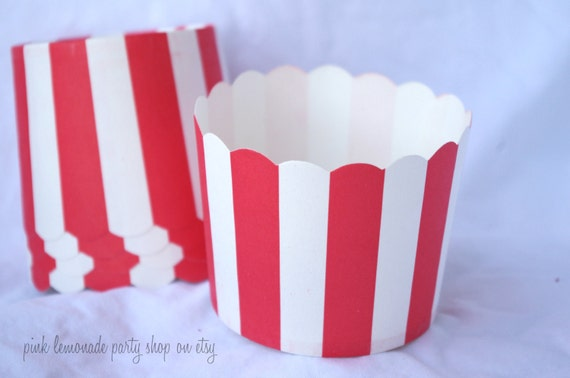 Red And WHiTe STripe--large-Nut/Candy/Baking Cups--25ct--Parties--cupcakes-gumballs-snacks