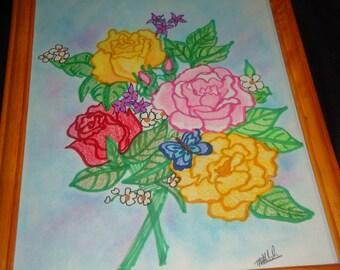 flower drawing framed
