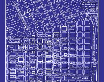 1949 Vintage Map of Downtown Portland Oregon Blueprint Map Print Poster