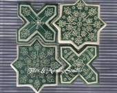 Four part Set Islamic style geometric star and cross tiles in dark green and white color - Harun al-Rashid/4