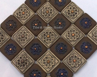 """29 pieces/Tiny flower square mosaic  tiles  in chocolate brown grey gold and cobalt blue color 1 square is  1.7x1.7cm / 0.7x0.7 """""""