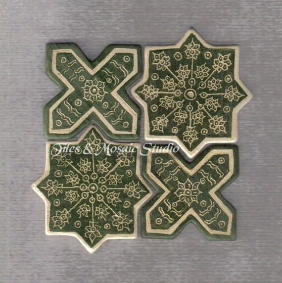 Four part set Islamic style geometric star and cross tiles in forest green and white color - Harun al-Rashid / 6
