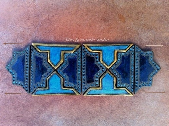 1001 Nights - Set of mosaic border  tiles - cobalt blue, turquoise, gold and sand yellow / 11 piece