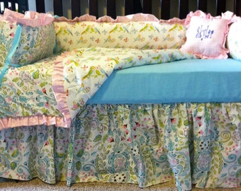 "Custom Crib Bedding using Dena Design's ""Leanika"", Pink Aqua Crib Bedding"