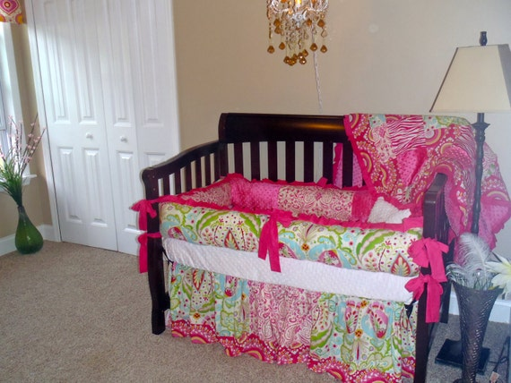 Custom Designed Crib Bedding Using Dena Fishbein's Kumari Garden