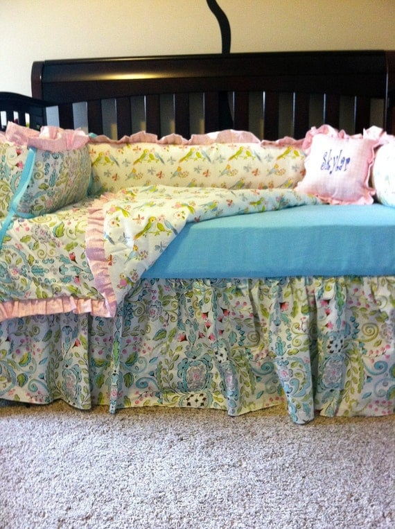 "Custom Crib Bedding using Dena Design's ""Leanika"""