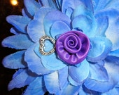 PURPLE, BLUE Flower with accents of LAVENDER and silver beads secured tightly to a large alligator clip.