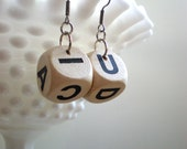 Boggle Game Piece Earrings / Recycled Jewelry / Black and White