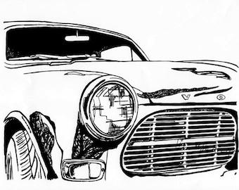 Vintage Volvo 122 / Classic Car Art