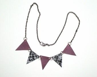 Triangle Banner Necklace / Bunting Flag / Upcycled Statement Necklace / Vegan Friendly