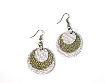 SALE Eco-fashion Statement Earrings / Off-White Pearl & Brass Circles / Geometric Jewelry