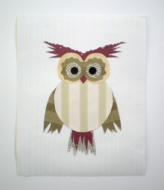 Literary Owl Art / Original / Kids Room Wall Decor / 8x10 Ready to Frame