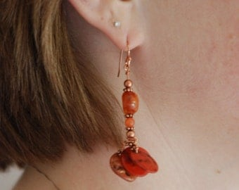 Belly Dancer Copper, Coral & Shell Handmade Dangle Earrings