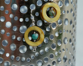 "Green Shell and Round Turquoise Sterling Silver ""Exotic Goddess"" Earrings"