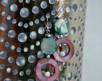 "Amethyst, Aqua, and White Shell Sterling Silver ""Drama Queen"" Earrings"