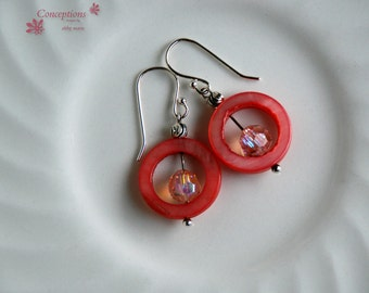 "Sterling Silver, Pink Shell, and glass bead ""Strawberry Gumdrop"" Small Dangle Earrings"