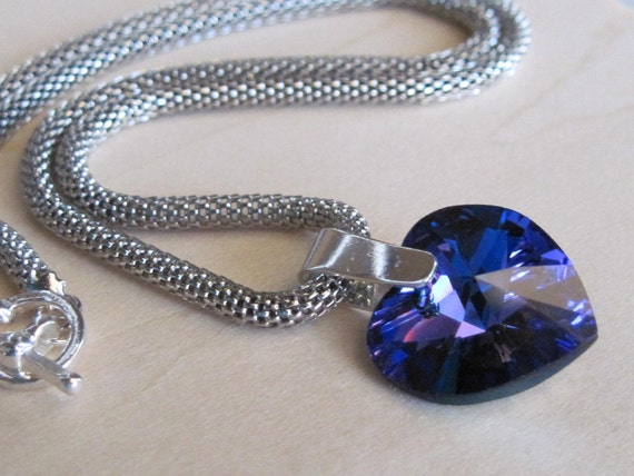 On Sale Divine Snake Chain Heliotrope Swarovski Crystal Heart Choker Necklace