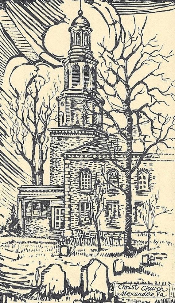 Vintage Postcard Christ Church Alexandria VA Frank Hamilton Taylor
