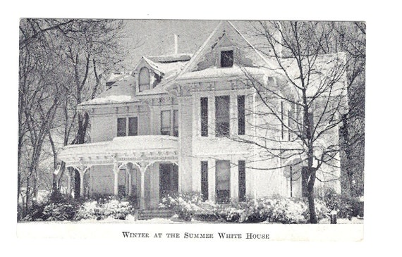 Victorian House Winter Snow Vintage Postcard Black & White Photograph Harry S. Truman Summer House