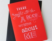 "SALE Alice in Wonderland Quote Typography Greeting Card 5"" x 7"" / ""There ought to be a book written about me"""