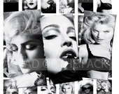 4009-MADONNA BLACK & WHITE-1''X2''Inch Domino  jpg Images - Digital Collage sheet 8.5''X11''