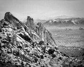 Desert Photography - Landscape Photography - Joshua Tree, California, Black and White, Vintage, Mojave Desert, Ryan Mountain, Hiking - 8x10