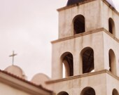 California Photography - Church, Steeple, Religion, Cross, Architecture, Bell Tower, White, Neutral, San Diego, 8x10, Home Decor