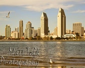 San Diego Photography - Skyline, Sea Gulls, Bay, Muted Tones, Blue Sky, California, Downtown, Buildings, Coronado Island, Home Decor