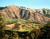 California Landscape Photograph - Green Rolling Hills, Mountain, Country Side, Big Sur, Northern, Woods, Trees, Blue Sky, 8x10 Print, Nature