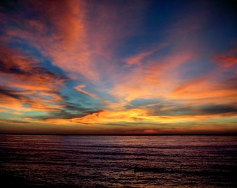 Sunset at Sunset Cliffs - 8x10, Blue, Yellow, Orange, Heavenly, Sky, Multi Color - San Diego California - Fine Art Photography